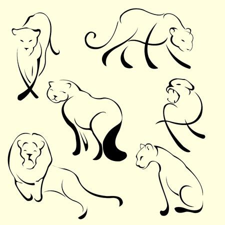 Vector illustraition of Lion Design Set made with simple line only Illustration