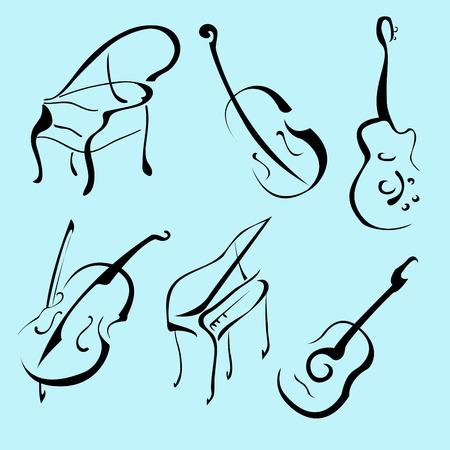 Vector illustraition des Instruments de Musique Design Set fait avec une simple ligne seulement