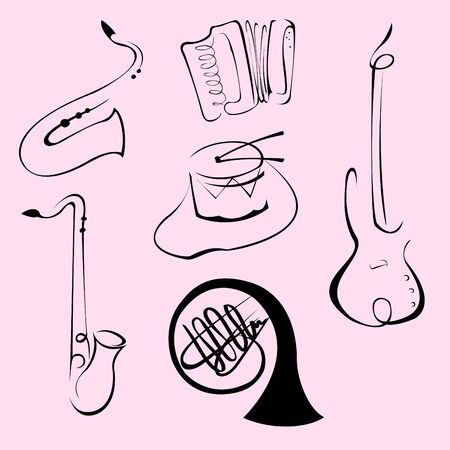 illustraition: Vector illustraition of Music Instruments Design Set made with simple line only Illustration