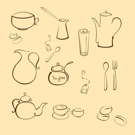 ustensiles de cuisine: Vector illustraition d'ustensiles de cuisine Design Set faites avec une simple ligne seulement