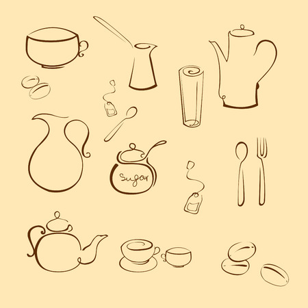 kettles: Vector illustraition of kitchen utensil Design Set made with simple line only Illustration