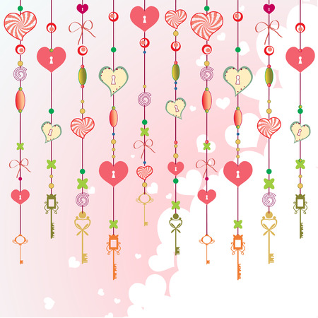chimes: Vector Illustration of Decorative Wind Chimes with fanky heart shapes design