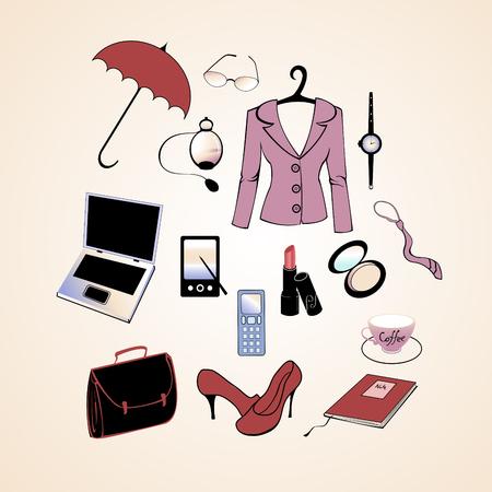 Vector illustration des diff�rents �l�ments li�s au mode de vie femme d'affaires. Illustration