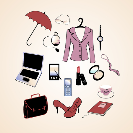 Vector illustration of different items related to business woman lifestyle. Stock Vector - 4703596