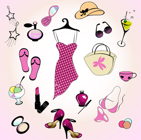 Vector illustration of different items related to glamour summer lifestyle. Illustration