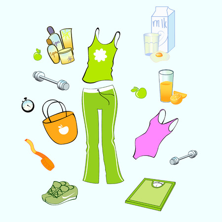 jogging in nature: Vector illustration of different items related to sport and healthy lifestyle.