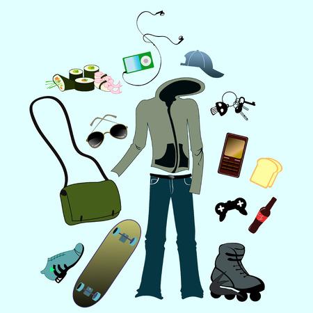life style: Vector illustration de l'homme mis en accessoires li�s � la vie urbaine style.