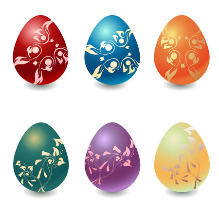Vector illustration  of the different easter eggs decorated with beautiful floral elements. Ilustração