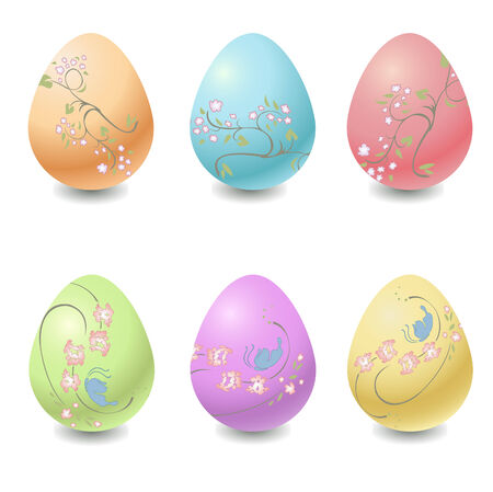 Vector illustration  of the different easter eggs decorated with beautiful floral elements. Vector
