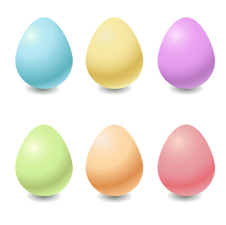 Vector illustration  of the different colors easter eggs . Ilustração