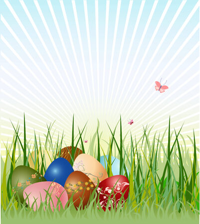 Vector illustration of Easter eggs on the beautiful green grass background. The edds are decorated with floral elements. Stock Vector - 4703677