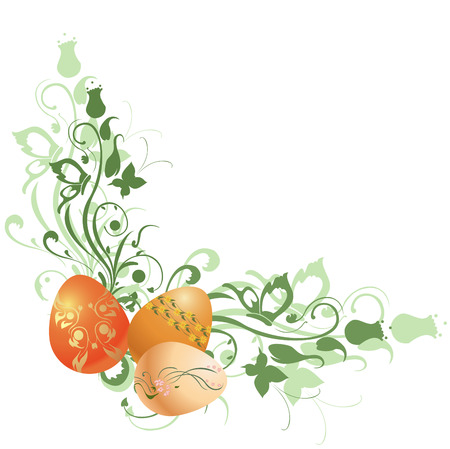Vector Illustration of beautiful floral frame decorated with Easter Eggs. Vector