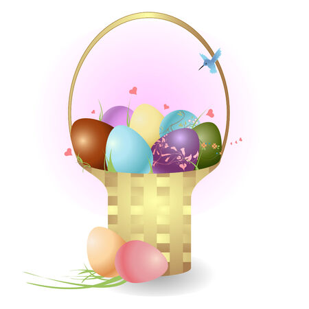 Vector illustration  of the basket with easter eggs decorated with beautiful floral elements. Vector