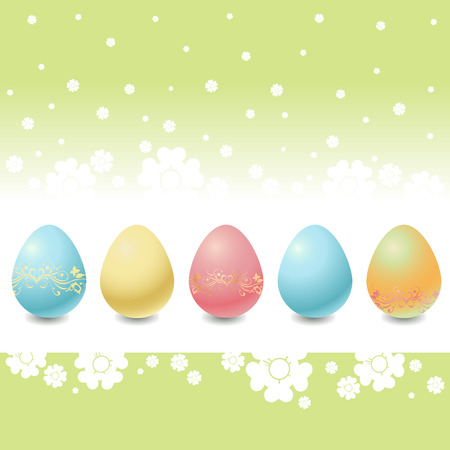 Vector Illustration of the Easter Eggs on the beautiful floral background. Stock Vector - 4703680