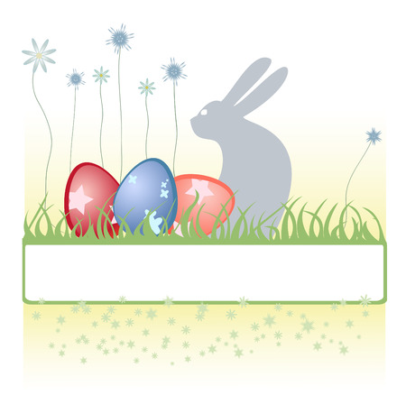Vector Illustration of Easter background decorated with rabbit, easter eggs and flowers. Vector