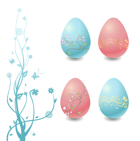 Vector Illustration of Easter Eggs with floral elements and the tree branch. Vector