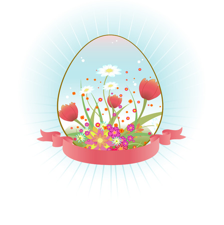 Vector Illustration of beautiful floral background decorated with Easter Egg shape. Vector