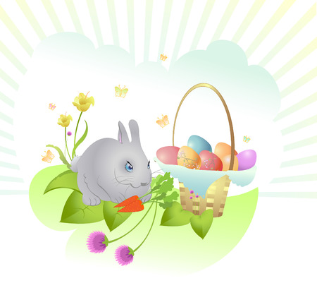 Vector Illustration of Easter background decorated with rabbit, easter eggs and flowers. Stock Vector - 4703675