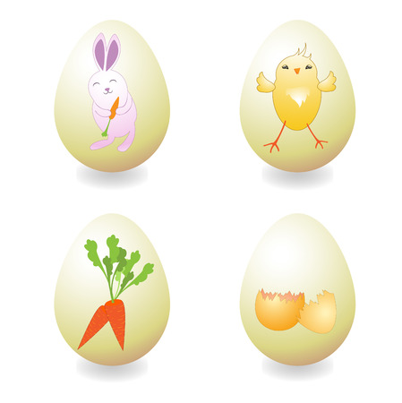Vector Illustration of Easter Eggs, decorated with different funny objects - rabbit, carrot and chick. Vector