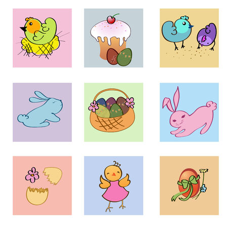easter cake: Vector Illustration of funny easter icons decorated with bunny, eggs, chick and flowers.
