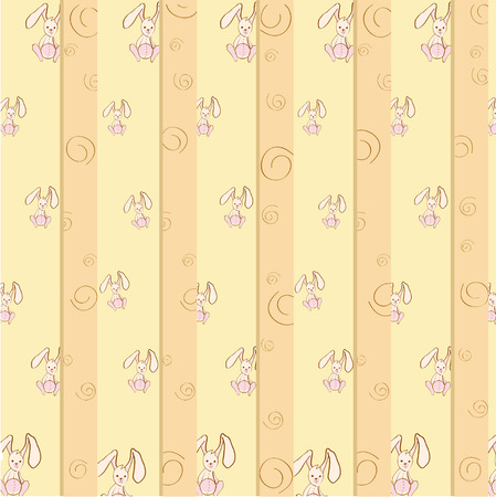 Cartoon vector illustration of  retro striped  background with Cute little rabbits Vector