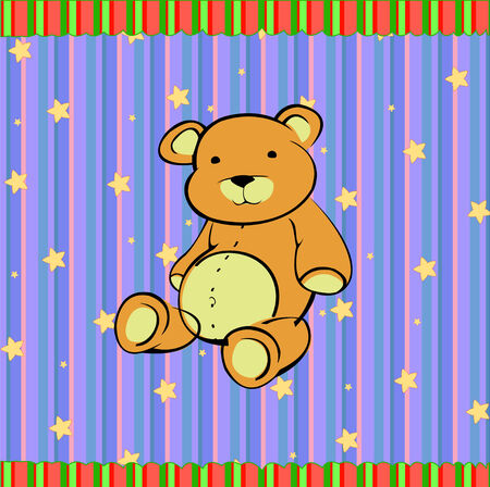 Cartoon vector illustration of Cute little teddy bear on the retro striped background Vector