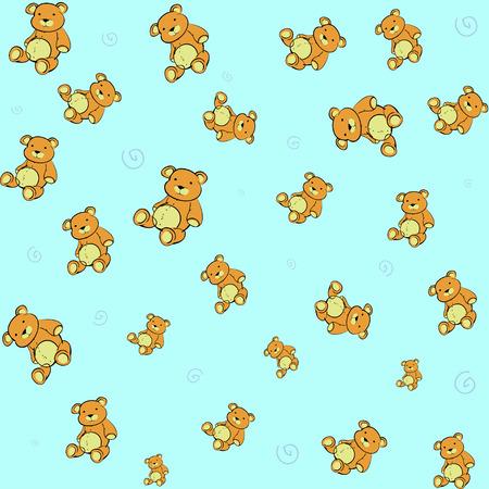 osos de peluche: Caricatura de ilustraci�n vectorial funky retro Cute little fondo con los osos de peluche