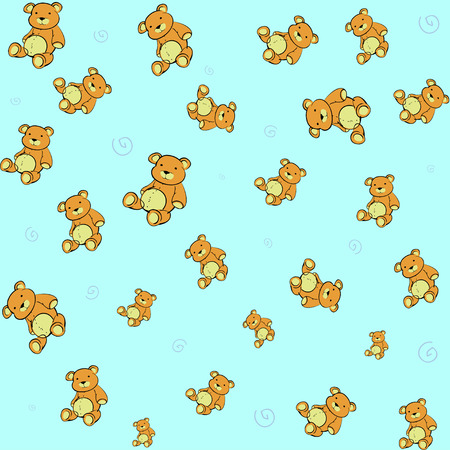 Cartoon vector illustration of  retro funky background with Cute little teddy bears Vector