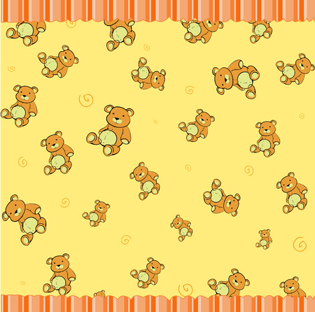 Cartoon vector illustration of retro funky background with Cute little teddy bears Vector