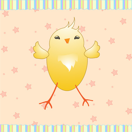 Cartoon vector illustration of  retro funky background with cute little yellow baby chick Vector