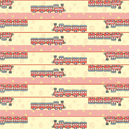 Cartoon vector illustration of retro funky background with cool little trains Vector