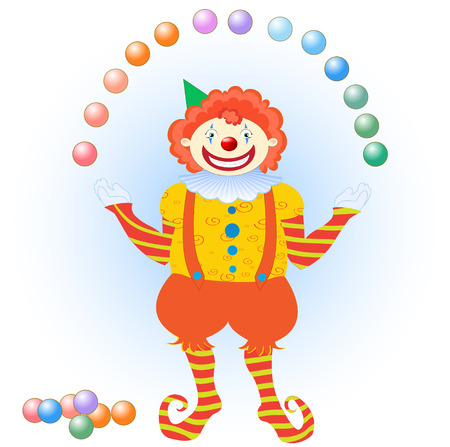 Vector illustration of clown juggling colorful balls. You can place letters on the balls to spell words. Vector