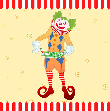 Vector illustration of clown juggling colorful playing card  Vector