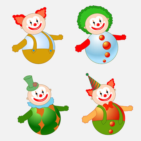 tilting: Vector illustration of four circus clowns on tilting doll style