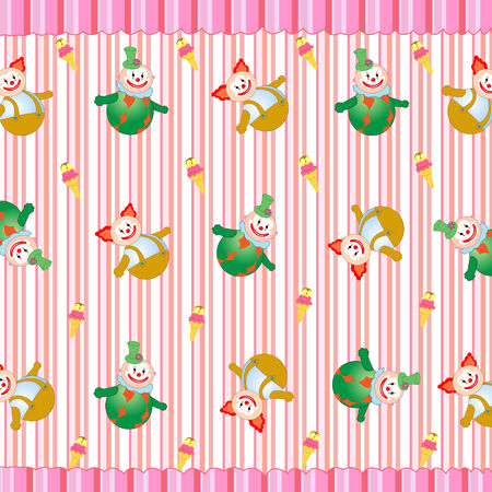 Vector illustration of clowns on the retro striped background Vector