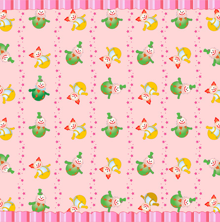 Vector illustration of funky retro background with cute little clowns Vector