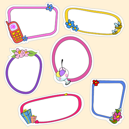Vector illustration of cute retro frames on stickers style with funny elements of lifestyle