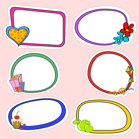 Vector illustration of cute retro frames on stickers style with funny elements