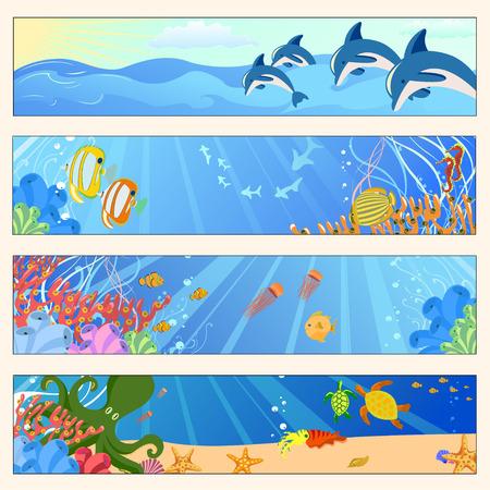 Ilustración vectorial de pancartas coloridas conjunto con las criaturas de los mares. Friendly niños estilo.