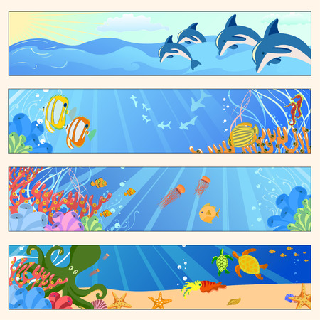 Vector illustration of Colorful banners set with creatures of the seas. Friendly kids style. Vector