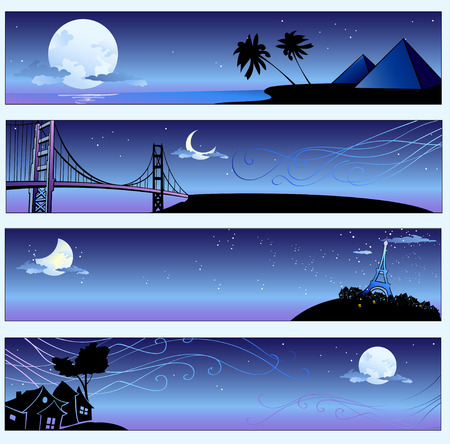 Vector illustration of romantic travel banners set with cartoon  skyline silhouettes  Vector
