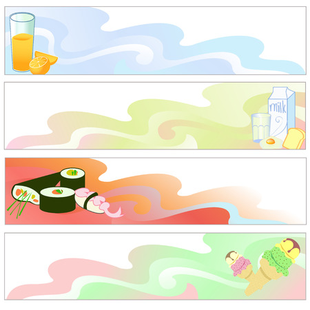 Vector illustration of Colorful banners set with funky food Vector