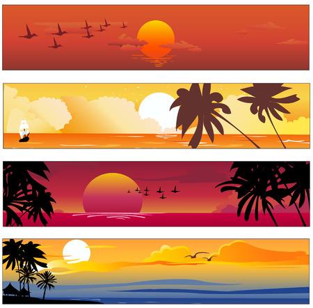verano: Ilustraci�n vectorial de las banderas de colores tropicales conjunto con los dise�os de verano