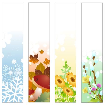 quatre saisons: Vector illustration de banni�res Quatre saisons Colorful