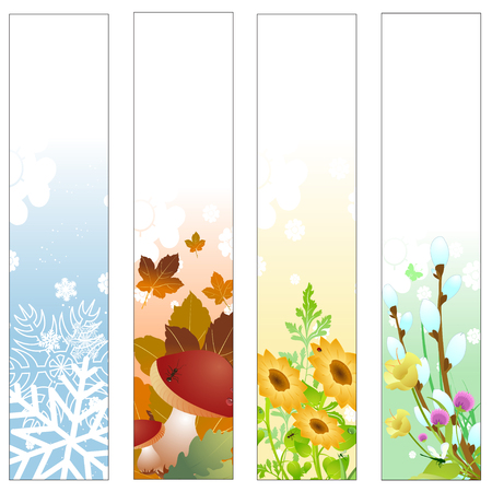 Vector illustration of Colorful Four seasons banners Vector