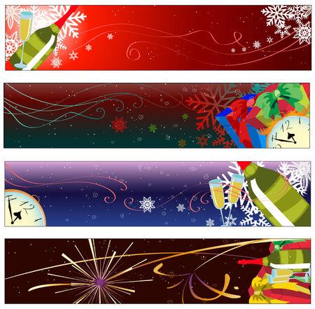 Vector illustration des bannières colorées nouvelle année parti Vecteurs
