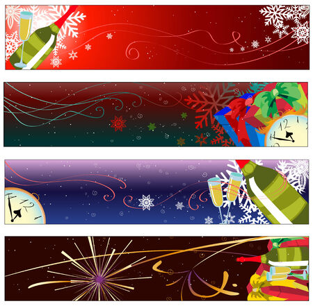 Vector illustration of Colorful new year party banners Vector