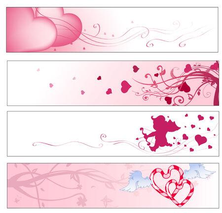 Vector illustration de rose Saint Valentin partie banni�res