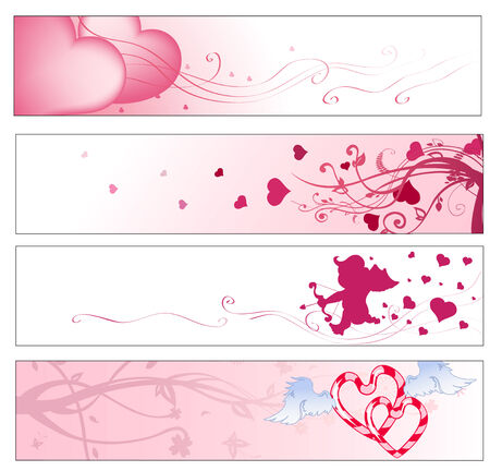 Vector illustration of pink valentines day  party banners Vector
