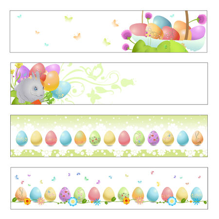 Vector illustration of Colorful easter banners Vector